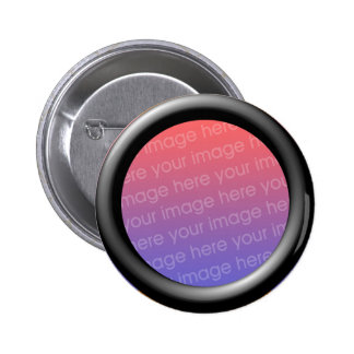 Black (3d effect frame border) Template 6 Cm Round Badge