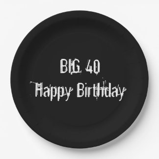 Black 40th Birthday Party Paper Plate