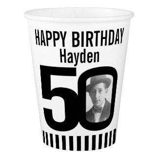Black 50th birthday custom photo paper cups