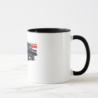 Black '57 Bel Aire post gasser on two tone mug