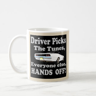 Black '68 Charger with Hands off on back side. Coffee Mug