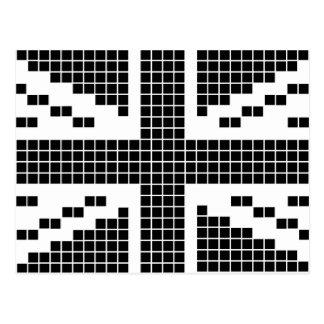 Black 8-bit Pixels Union Jack British(UK) Flag Post Card