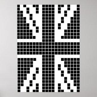 Black 8-bit Pixels Union Jack British(UK) Flag Posters