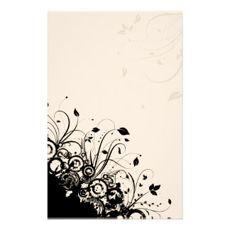 Black Abstract Art Floral Stationery