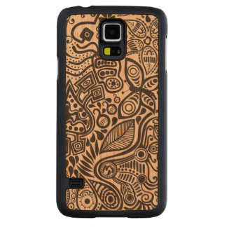 Black Abstract Doodles With Butterfly And Flowers Cherry Galaxy S5 Case
