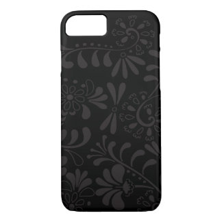 Black abstract flowers iPhone 7 case