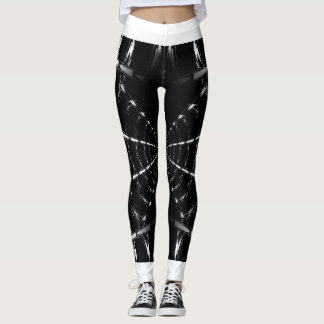 Black Abstract Spider Web Design Movement Leggings
