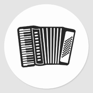 Black Accordion Classic Round Sticker
