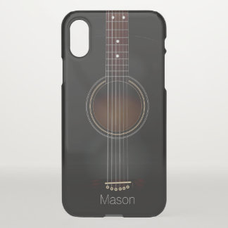 Black Acoustic Guitar Music iPhone X Case