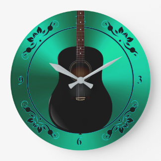 Black Acoustic Guitar On Green Music Clock