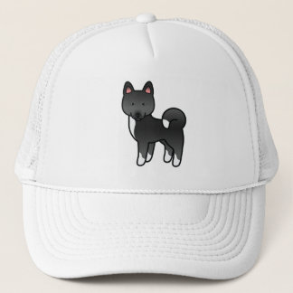 Black Akita Cartoon Dog Illustration Trucker Hat
