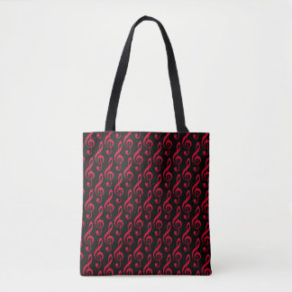 black all_over_printed tote & red musical notes