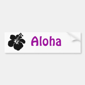Black aloha flower bumper sticker