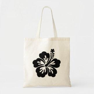 Black aloha flower tote bag