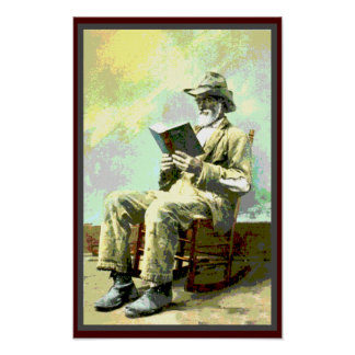 Black America Vintage Man Reading Book Poster