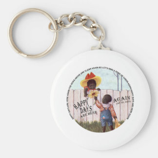 Black Americana Obama Happy Days are Here Again Basic Round Button Key Ring