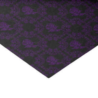 Black Amethyst Rose Damask Gothic Art Print Tissue Paper