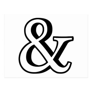 &, black ampersand sign with shadow postcard