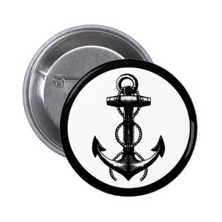 Black Anchor Double Rope 6 Cm Round Badge