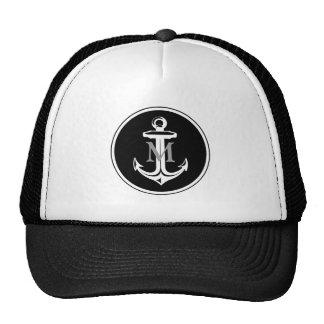 Black Anchor on Monogrammed Hat