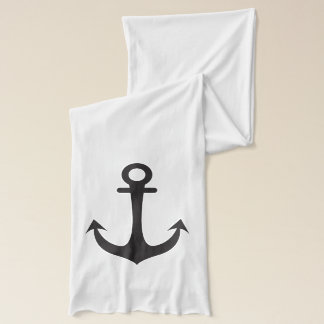 Black Anchor & Red  Hearts Scarf