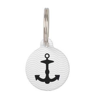 Black Anchor Silhouette And Custom Info Pet Tag