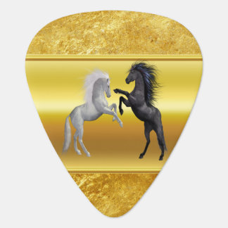 Black and a white Horse that are fighting Guitar Pick