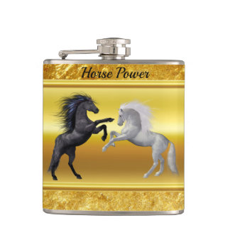 Black and a white Horse that are fighting Hip Flask