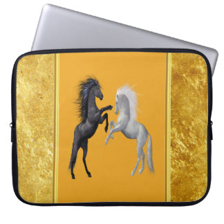 Black and a white Horse that are fighting Laptop Sleeve