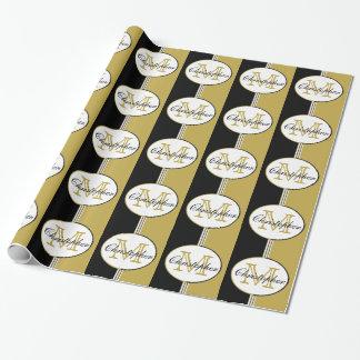 Black and Antique Gold Stripes Monogram