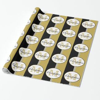 Black and Antique Gold Stripes Monogram Wrapping Paper