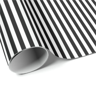 Black and Any Colour Choice Stripes Wrapping Paper