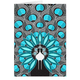 Black And Aqua Blooming Peafowl Card
