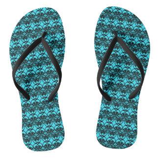Black and Aqua Blue Lace Swirl Pattern Thongs