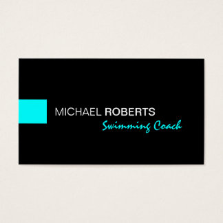 Black and Aqua Swimming Instructor Coach Lifeguard Business Card