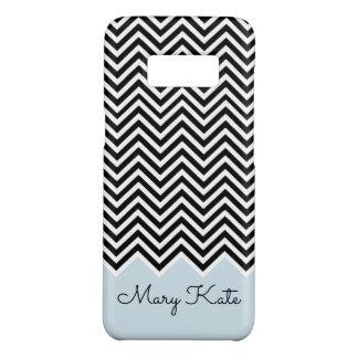 Black and baby blue Modern Chevron Custom Monogram Case-Mate Samsung Galaxy S8 Case
