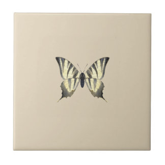 Black and Beige Butterfly Tile