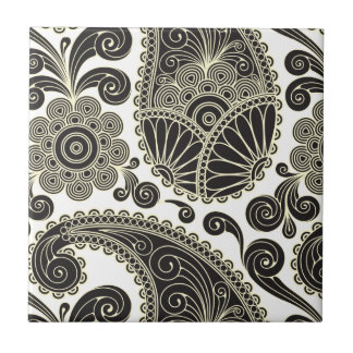 Black and beige paisley small square tile
