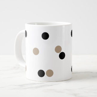 Black and Beige Polka Dots  Jumbo Mug