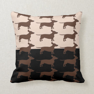 Black and Beige Throw Pillow with Dachshunds