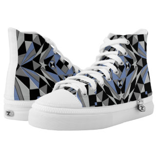 Black and Blue Abstract Design High Tops