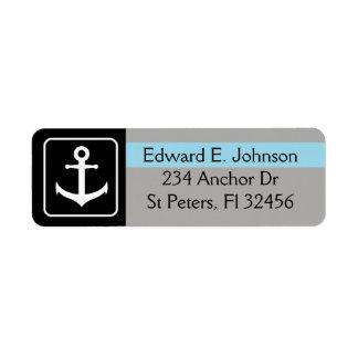 Black and Blue Anchor Return Mailing Address Label