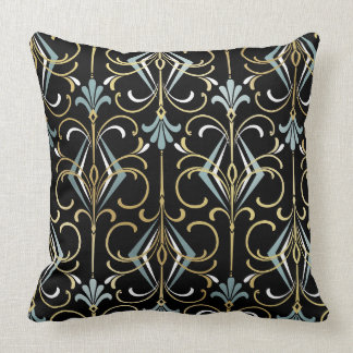 Black and Blue Art Deco 1920's Throw Pillow
