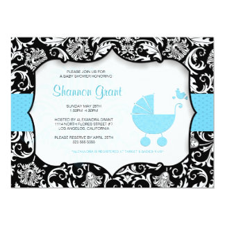 """Black And Blue Baby Shower Invitation Template 6.5"""" X 8.75"""" Invitation Card"""