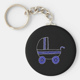 Black and Blue Baby Stroller. Key Ring