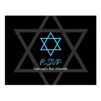 Black and Blue Bar Mitzvah RSVP Postcard