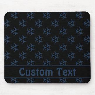 Black and Blue Biohazard Mousepad w/ Custom Text
