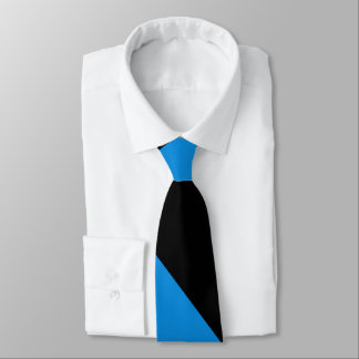 Black and Blue Broad University Stripe Tie
