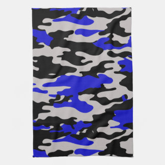 Black and Blue Camo Tea Towel