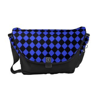 Black and Blue Checked Pattern Messenger Bags